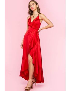 Satin Ruffle Wrap Maxi Dress by A'gaci