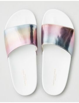 Aeo Reflective Pool Slide Sandal by American Eagle Outfitters