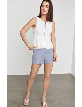 Lace Zip Front Peplum Top by Bcbgmaxazria