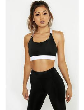 Fit Contrast Strap Sports Bra by Boohoo