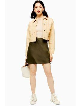 Khaki Satin Bias Mini Skirt by Topshop