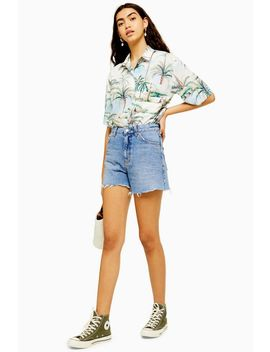 Blue High Waisted Denim Shorts by Topshop