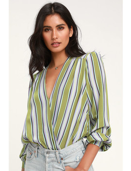 Quinn Green Striped Long Sleeve Surplice Bodysuit by Astr The Label