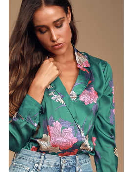 Vallecito Teal Green Satin Floral Print Long Sleeve Bodysuit by Lulus