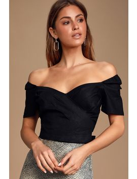 Poetry Black Pleated Off The Shoulder Puff Sleeve Crop Top by Lulus