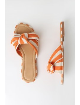 Clarkson Orange Striped Knotted Slide Sandals by Lulu's