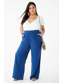 Plus Size Linen Blend Wide Leg Pants by Forever 21