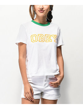 Obey Gig White &Amp;Amp; Green Ringer T Shirt by Obey