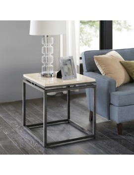 Madison Park Koko Cream Marble And Metal End Table by Madison Park