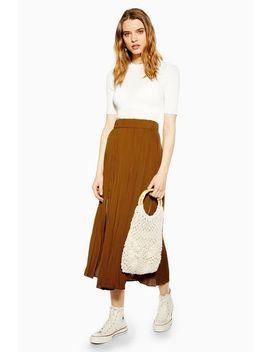 Tan Satin Pleated Midi Skirt by Topshop