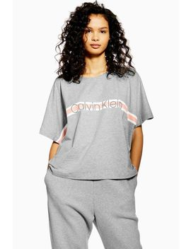 **Grey Crew Neck T Shirt By Calvin Klein by Topshop