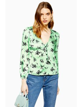 Floral Tie Front Blouse by Topshop