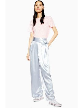 Double Belted Satin Wide Trousers by Topshop