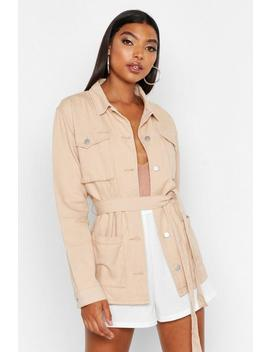 Tall Tie Waist Utility Jacket by Boohoo