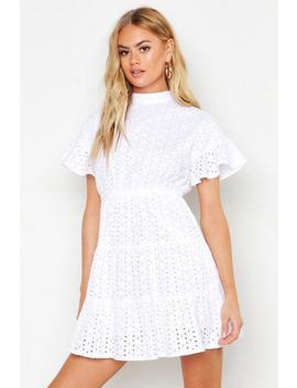 High Neck Tiered Broderie Anglais Smock Dress by Boohoo