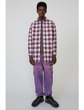 Quilted Overshirt Aubergine/White by Acne Studios