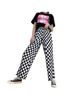 Women High Waist Checkered Plaid Pants Casual Loose Trousers Fashion Sweatpants by Unbranded