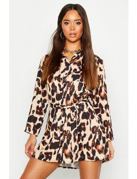 Leopard Woven Shirt Dress by Boohoo