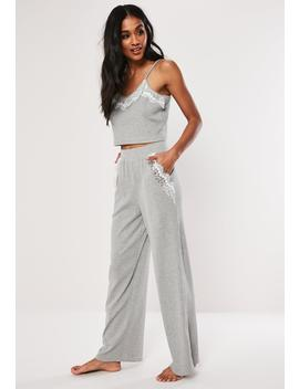Grey Rib Cami Top And Trouser Loungwear Set by Missguided