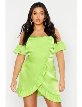 Plus Satin Bardot Ruffle Wrap Skater Dress by Boohoo