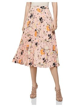 Andi Floral Pleated Skirt by Reiss