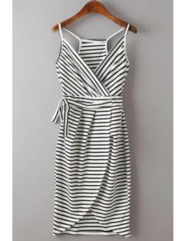 Stylish Spaghetti Strap Stripe Print Women's Dress by Rosegal