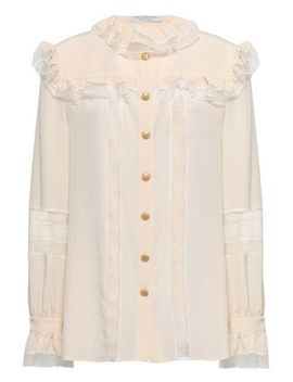 Lace And Point D'esprit Trimmed Crepe De Chine Blouse by Philosophy Di Lorenzo Serafini