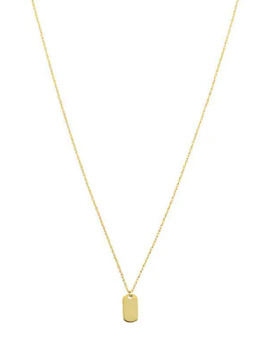 So You 14 K Yellow Gold Mini Dog Tag Pendant Necklace by Saks Fifth Avenue