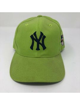 Vintage New York Yankees Mlb Lime Green Navy Throwback Strapback Hat by G C C