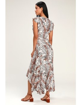 Zephyr White Leopard Print Wrap Maxi Dress by Kivari