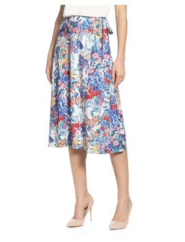 floral-faux-wrap-skirt by t-tahari