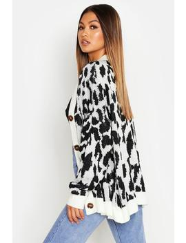 Oversized Leopard Knitted Cardigan by Boohoo