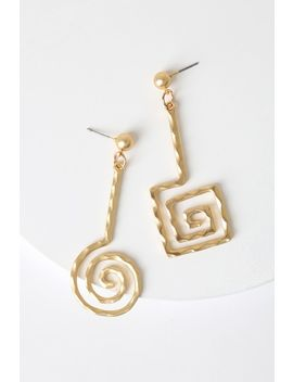 Bonet Gold Asymmetrical Earrings by Petit Moments