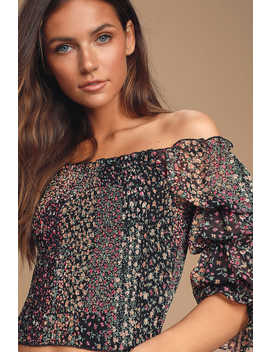 Mindset Black Floral Print Smocked Puff Sleeve Top by Lulus