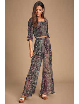 Atmosphere Black Floral Print Sheer Wide Leg Pants by Lulus