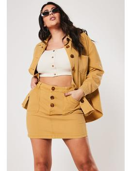 Plus Size Mustard Co Ord Button Front Denim Mini Skirt by Missguided
