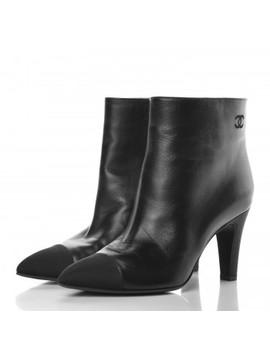 Chanel Lambskin Grosgrain Cap Toe Short Ankle Boots 38 Black by Chanel