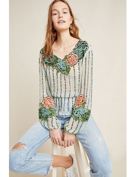 Amy Embellished Peasant Blouse by Anthropologie