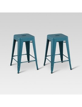 "Carlisle 24"" Metal Counter Stool   Teal (Set Of 2)   Threshold by Teal (Set Of 2)"