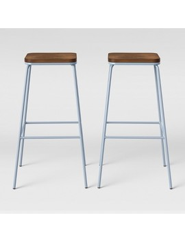 Set Of 2 Rhodes Metal/Wood Barstool Light Blue   Project 62 by Project 62