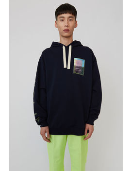 Printed Hooded Sweatshirt Navy Blue by Acne Studios
