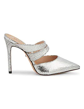 Kaela Cracked Metallic Leather Stiletto Mules by Schutz