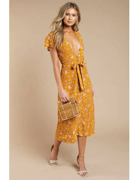 Rove Louise Marigold Plunging Midi Dress by Tobi