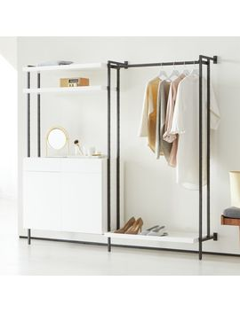 Flex Modular Clothing Rack And Closed Storage Cabinet With Shelves by Crate&Barrel