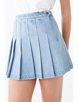 Denim Knife Pleat Mini Skirt by Forever 21