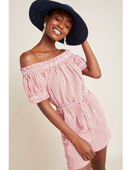 Checked Off The Shoulder Romper by Anthropologie