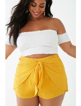 Plus Size Self Tie Skort by Forever 21