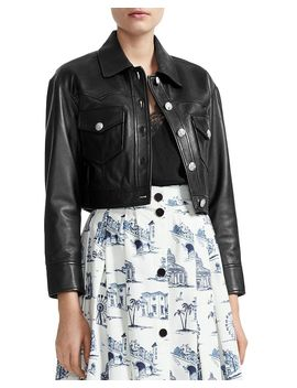 Bacchus Cropped Leather Jacket by Maje