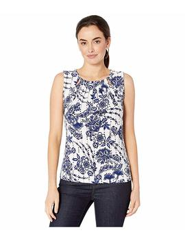 Floral Bead Neck Sleeveless Knit Top by Tommy Hilfiger