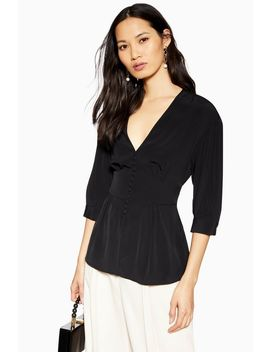 Black Short Sleeve Plunge Blouse by Topshop